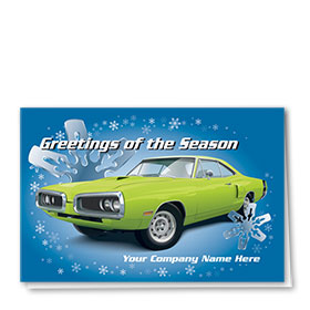 Double Personalized Full Color Holiday Card-Chromed Snowflakes