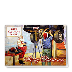 Double Personalized Full Color Holiday Card-Santa's Mechanic