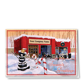 Double Personalized Full Color Holiday Card-Candy Cane Shop