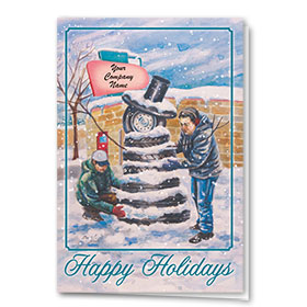 Double Personalized Full Color Holiday Card-Tire Snowman