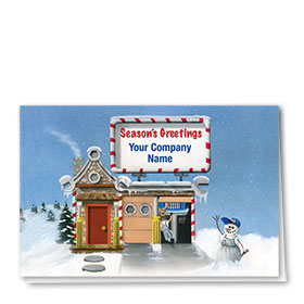 Double Personalized Full Color Holiday Card-Repair Cottage