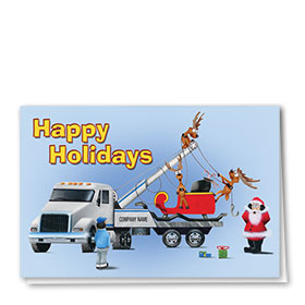 Double Personalized Full Color Holiday Card-Santa's Tow