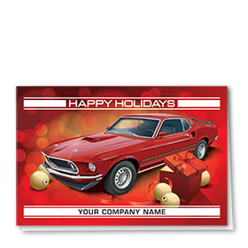 Double Personalized Full Color Holiday Card-Holiday Mustang