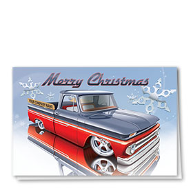 Double Personalized Full Color Holiday Card-Red Reflection