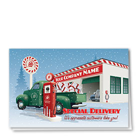 Double Personalized Full Color Holiday Card-Service Station