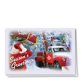 Double Personalized Full Color Holiday Card-Santa Rescue