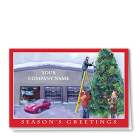 Double Personalized Full Color Holiday Card-Holiday Lights