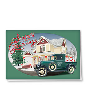 Double Personalized Full Color Holiday Card-Homestead Holiday
