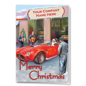 Double Personalized Full-Color Automotive Holiday Cards - Santa's Sports Car