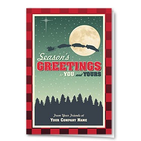 Double Personalized Full Color Holiday Card-Christmas Flannel