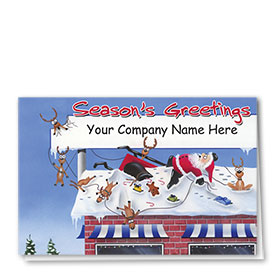 Double Personalized Full-Color Automotive Holiday Cards - Rooftop Wreck