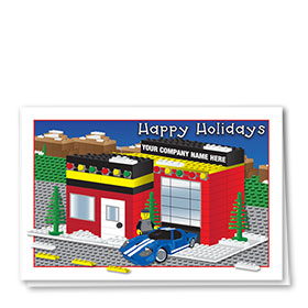 Double Personalized Full Color Holiday Card-Building Block Auto