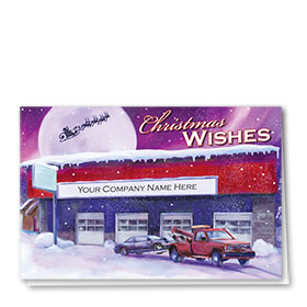 Double Personalized Full-Color Automotive Holiday Cards - Purple Aurora