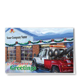 Double Personalized Full-Color Automotive Holiday Cards - Festive Tow Shop