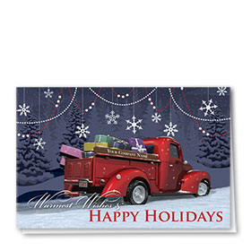 Double Personalized Full Color Holiday Card-Revered Red Pickup