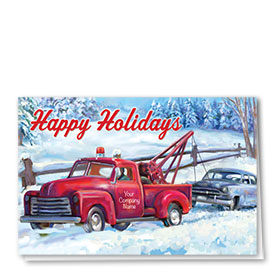Double Personalized Full-Color Automotive Holiday Cards - Classic Hauliday