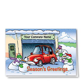 Double Personalized Full-Color Automotive Holiday Cards - Snowman Merriment