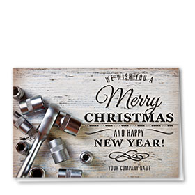 Double Personalized Full Color Holiday Card-Rustic Repair