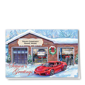 Double Personalized Full-Color Automotive Holiday Cards - Sporty Sleigh