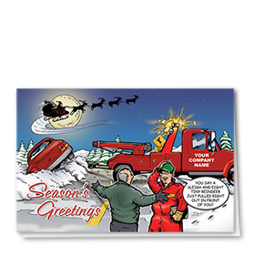 Double Personalized Full-Color Automotive Holiday Cards - Christmas Tow