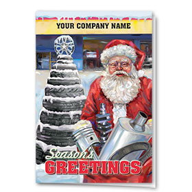 Double Personalized Full-Color Automotive Holiday Cards - Santa's Tree