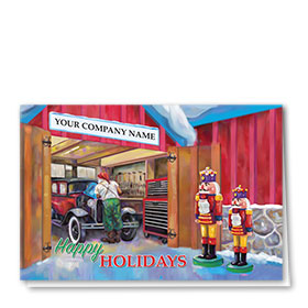 Double Personalized Full-Color Automotive Holiday Cards - Nutcracker Repair