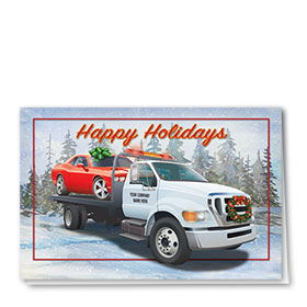 Double Personalized Full-Color Automotive Holiday Cards - Holiday Towing