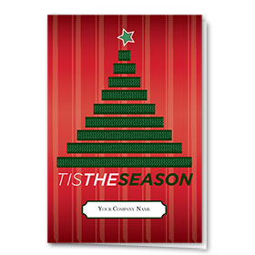 Double Personalized Full Color Holiday Card-Tree Tracks