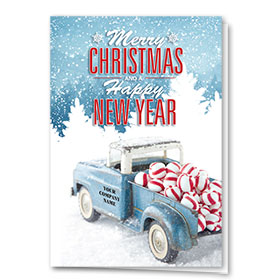 Double Personalized Full-Color Automotive Holiday Cards - Peppermint Classic