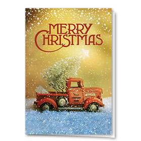 Double Personalized Full-Color Automotive Holiday Cards - Vintage Trinket