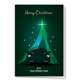 Double Personalized Full-Color Automotive Holiday Cards - Emerald Silhouette