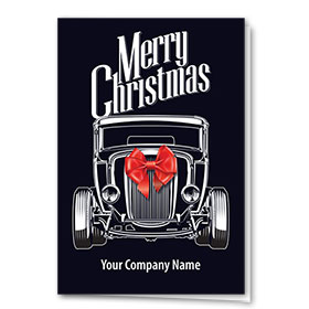 Double Personalized Full-Color Automotive Holiday Cards - Christmas Bow