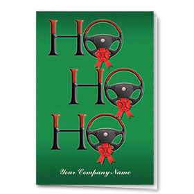 Double Personalized Full-Color Automotive Holiday Cards - Santa's Phrase