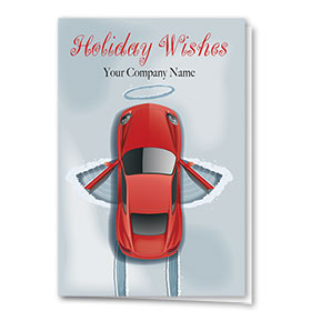 Double Personalized Full-Color Automotive Holiday Cards - Auto Angel