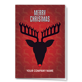 Double Personalized Full Color Holiday Card-Reindeer Wrench
