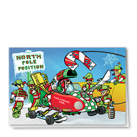 Double Personalized Full-Color Automotive Holiday Cards - Team Santa