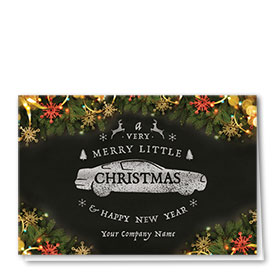 Double Personalized Full-Color Automotive Holiday Cards - Embellished Greeting