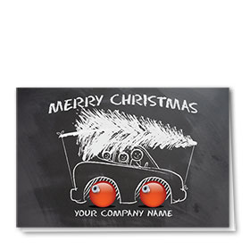 Double Personalized Full-Color Automotive Holiday Cards - Holiday Sketch