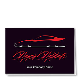 Double Personalized Full-Color Automotive Holiday Cards - Sled Semblance