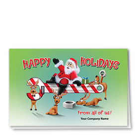Double Personalized Full-Color Automotive Holiday Cards - Candy Wrench