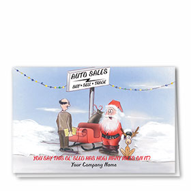 Double Personalized Full-Color Automotive Holiday Cards - Sled Salesman