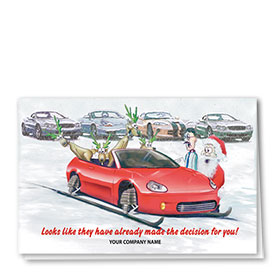 Double Personalized Full-Color Automotive Holiday Cards - Delighted Reindeer