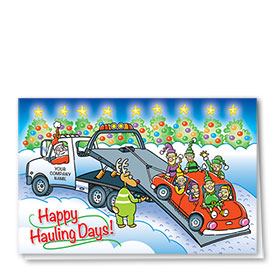 Double Personalized Full-Color Automotive Holiday Cards - Hauling Help