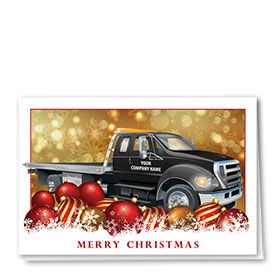 Double Personalized Full-Color Automotive Holiday Cards - Towing Tinsel