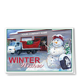 Double Personalized Full-Color Automotive Holiday Cards - Snowman Towing