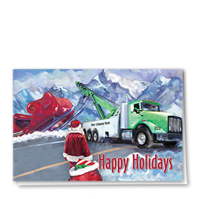 Double Personalized Full-Color Automotive Holiday Cards - Santa's Towing