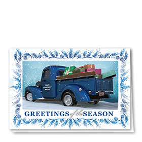 Double Personalized Full-Color Automotive Holiday Cards - Blue Spruce