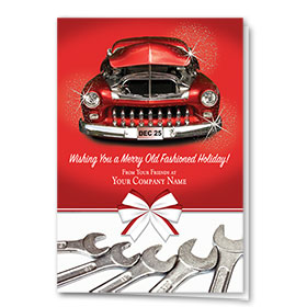 Double Personalized Full-Color Automotive Holiday Cards - Nostalgic Crimson