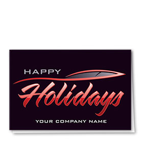 Double Personalized Full-Color Automotive Holiday Cards - Streamline Greeting