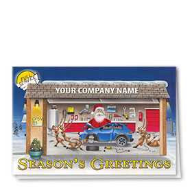 Double Personalized Full-Color Automotive Holiday Cards - Repair Team